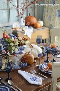 A Blue Willow Thanksgiving Tablescape, Blue and White Thanksgiving Table, Blue and White place setting, Blue, White and Orange Thanksgiving ...