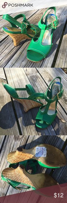 "☘ Franco Sarto Kelly Green Leather T-Strap Sandals Beautiful Kelly Green patent leather. Style is ""Jana"". Size 7.5M (too small for me to model). Basketweave heel. Great condition with some stickers that need removal and a couple of small condition flaws shown in the last photo. Franco Sarto Shoes Heels"