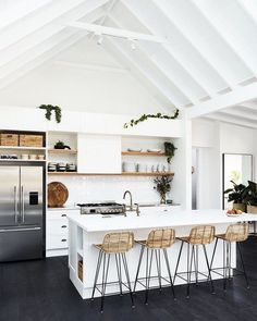 White kitchen design sure is a timeless design. They are clean, bright, and best of all, there is no need to spend your energy on color decisions. However, a white kitchen can be boring too if the… Continue Reading → Home Decor Kitchen, Kitchen Interior, Home Interior Design, Kitchen Ideas, Kitchen Trends, Kitchen Colors, Diy Kitchen, Interior Ideas, Modern Interior