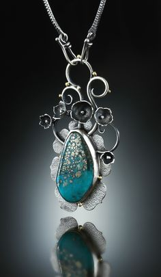 Necklace |  Amy Buettner.  Campitos Turquoise Centerpiece. Fabricated Sterling Silver and 18k gold.