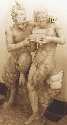 Pompeii ~ Pan teaching his eromenos (young male lover), the shepherd Daphnis, to play the pipes, 2nd c. AD, Roman copy of Greek original ca.| 100 BC| Found in Pompeii
