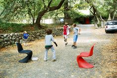 Panton Chairs, developed in Switzerland by Vitra, designed by Verner Panton, 1999. $295 Available on www.vertigohome.us
