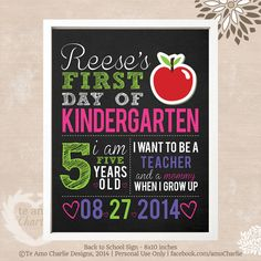 First Day of School Sign - Printable 8x10 First Day of School Photo Prop on Etsy, $5.00