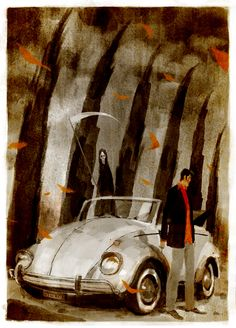 """An hommage to Dylan Dog for the exhibition """" Dylan e motori"""" at the CArt gallery in Rome. Dylan Dog, Game Concept Art, Dog Illustration, Love Drawings, Comic Book Artists, Japanese Artists, Dark Horse, Dog Art, Comic Art"""