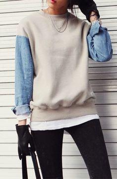 sweatshirt refashion Diy clothes refashion jackets 27 Ideas for 2019 Diy Clothes Refashion, Diy Clothing, Sewing Clothes, Sweater Refashion, Repurpose Clothing Refashioning, Thrift Store Refashion, Remake Clothes, Redo Clothes, Recycled Clothing