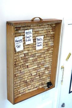 "Re-purposed ""Cork"" Board in a drawer,  or on a door with a framed chalk board and magnet board,spice rack shelf for ""grab and go"" item reminders like cell phone, key hooks coupon envelopes, out going/ in coming  mail"