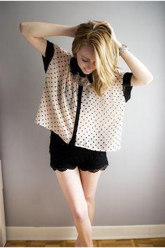 Crochet Shorts and Sheer Polka Dot Top