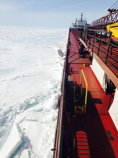 The Herbert C. Jackson near Whitefish Bay, Michigan in Lake Superior - April 7, 2015. Look at that snow-covered ice! - Interlake Steamship Company