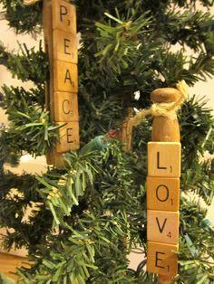 homeroad: Scrabble Clothespin Ornaments