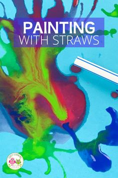 Blow painting with straws is an exciting and creative process art project for kids. Your kids will love these straw blown paintings!. Straw painting is an easy art project for kids in preschool, pre-k or a home. Make monsters, ocean coral, germs, peacock or just let them create open-ended art. Paint on canvas or paper....includes ideas for experimenting. Perfect for spring, summer, fall, winter. Creative Activities, Creative Kids, Art Activities, Easy Art Projects, Projects For Kids, Painting For Kids, Art For Kids, Summer Fall, Fall Winter