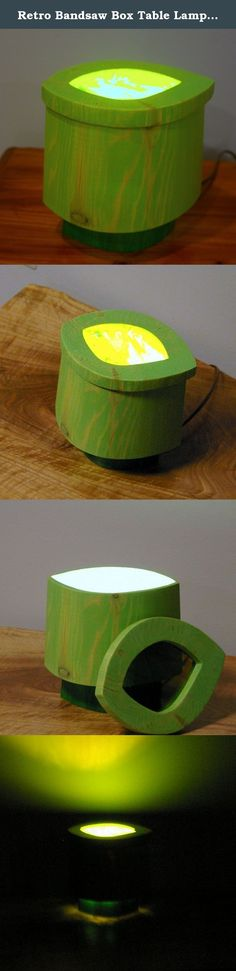 Retro Bandsaw Box Table Lamp-Bright Green. This wild creation began life as a set of four reclaimed pine 2x4 cut-offs destined for a scrap heap. We glued the 4 pieces together to form a cube, and then proceeded with design and cut-out for a bandsaw box. As soon as the cut-out was complete, though, we knew that what had been intended as a box was in reality also a lamp! So, we hollowed out the wood section that would have been the box lid and captured some stained glass in it. Then, we cut...