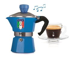 limited edition figc Featuring the official logo of the Italian federation of soccer, this stovetop coffee maker plays the Italian national anthem when your coffee is ready. It is a fun twist on an cl