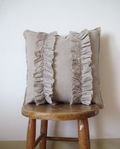 linen pillow ruffle shabby cottage decor natural by optic on Etsy, $38.00
