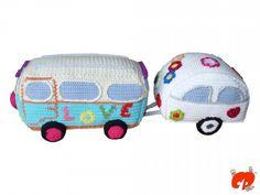 Häkelanleitung: Hippie Bus mit Wohnwagen