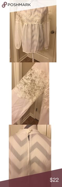 Off white beautiful lace blouse!!! Off white lace blouse with a two-button back!! Beautiful with jeans, tucked in, or fancy wear. Size small. Tops Blouses