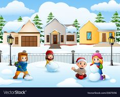 Cartoon kids playing in the snowing village vector image on VectorStock Colorful Pictures, Pretty Pictures, Kids Playing In Snow, Ski Drawing, Preschool Decor, Learn To Sketch, Graduation Greetings, Background Clipart, Letters For Kids