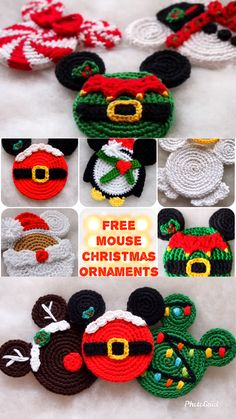 Christmas Ornament Mickey Mouse Minnie Mouse crochet pattern, The Santa Claus, Christmas decoration Crochet Santa, Crochet Toys, Free Crochet, Crochet Videos, Crochet Beanie, Mickey Minnie Mouse, Crochet Christmas Decorations, Christmas Ornaments, Christmas Candy