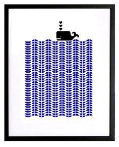 Whale silkscreen print  delft Blue and black door mengseldesign