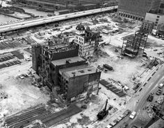 All but a handful of buildings in the eight block area of construction are already taken down in this shot, snapped in 1967, looking northwest from the corner of Greenwich and Liberty streets toward Vesey and West Streets.