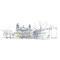 St. Paul's Cathedral, Architectural sketch in watercolor and ink -... (217.590 IDR) ❤ liked on Polyvore featuring home, home decor, wall art, art, backgrounds, sketches and london wall art