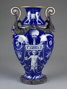 "1858 British Vase at the Victoria and Albert Museum, London - From the curators' comments: ""This vase is an example of Minton's enthusiasm for Renaissance style, although it is an original design rather than an exact copy of an original renaissance vase. Minton was one of the leading ceramic firms catering to the widespread public taste for historicist wares; objects copied from or inspired by past styles."""