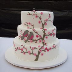 I like the birds on the cherry blossom branch.I'd love this as my wedding cake one day. Pretty Cakes, Cute Cakes, Beautiful Cakes, Cherry Blossom Cake, Cherry Blossom Wedding, Cherry Blossoms, Amazing Wedding Cakes, Amazing Cakes, Bird Cakes