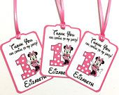 CUSTOM for 12/1 Angelique, Set of 24 Thank You Party Favor Tags, Pink Minnie Mouse Personalized Happy Birthday Party Favors