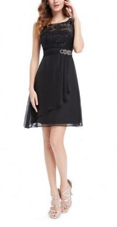 Love Love LOVE this LBD! Love the Jewels + the Draping! Black Lace Simple Fashion Round Neck Short Casual Dress #LBD #Little_Black_Dress #Bling #Party #Dresses