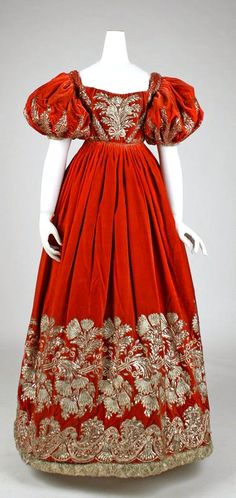 Court dress, c. 1828. Romantic era.