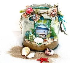 thepaintbrushgoesspottie: aussie scrap source....  Love the way the outside of the jar is decorated