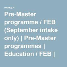 Pre-Master programme / FEB (September intake only) | Pre-Master programmes | Education / FEB | FEB | About us | University of Groningen