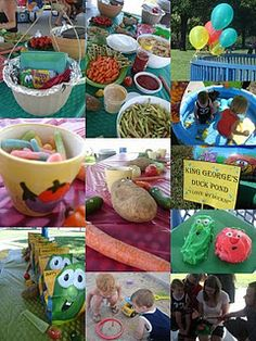 "Veggie Tales Birthday Party - Love the head for King George's Duck Pond. Maybe we could have a ""Knock Down Goliath"" thing with bean bags?"