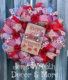 Jen's Wreath Decor & More Public Group Christmas Mesh Wreaths, Valentine Day Wreaths, Valentines Day Decorations, Valentine Day Crafts, Happy Valentines Day, Valentine Ideas, Printable Valentine, Valentine Box, Diy Valentine's Day Decorations