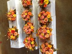 entire wedding party bouquets...love the colors of this...girls dresses were champagne colored.