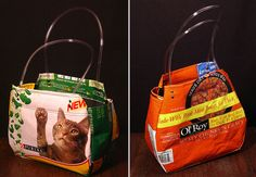 "These are neat... they are cat food bags fused and made into ""purses"" that hold cat food... they talk about putting bird seed in it instead since the cats in the house would eat through it to get to the kibble... lol ~ ! ~"