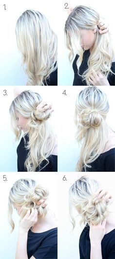How to Do Style: Messy Side Bun Updo My awesome sister taught me to do this over a year ago and it's been a curly-girl lifesaver! The post 10 Super Easy Updo Hairstyles Tutorials appeared first on Hair Styles. My Hairstyle, Pretty Hairstyles, Wedding Hairstyles, Hairstyle Ideas, Side Bun Hairstyles, Summer Hairstyles, Easy Messy Hairstyles, Fashion Hairstyles, Latest Hairstyles