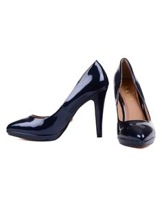 The navy blue patent stiletto heels with a pointed toe are small fitting so we would recommend getting a larger size than you usually wear. Pointed Toe Pumps, Stiletto Heels, Peep Toe, Patent Leather Pumps, Court Shoes, Platform Pumps, Christian Louboutin, Footwear, Leeds