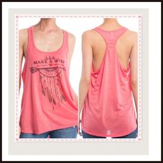 "Coral ""Make a Wish"" dream catcher racer back tank Fun & flirty tank top for a free spirit, boho girl. Size medium. Bust is 38-40"". Boutique Tops Tank Tops"