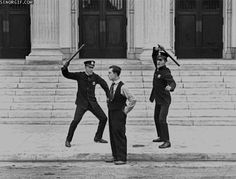 silent film in early 1920s with Buster Keaton.  Buster is always up to mayhem, lol