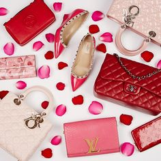 What do you want for Valentine's Day? #Handbags #fashion #style #pink #red #roses #flatlay #dior #christiandior #louisvuitton #chanel #gucci #Valentino #Valetinesday #valentinorockstuds #shoes #shoelover #productstyling