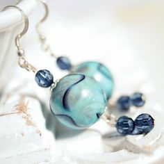 Mediterranean Sea Earrings  vintage stone mottled by DreamsCorner, €17.00 https://www.etsy.com/listing/42867569/mediterranean-sea-earrings-vintage-stone
