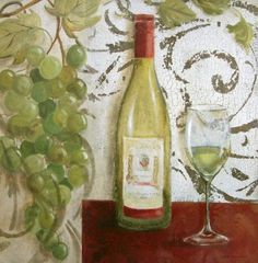 Carol-Robinson-Wine-Tasting-I-Fertig-Bild-30x30-Wandbild-Wein-Kueche
