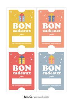Free printable   Des bons cadeau pour offrir un cadeau à vos proches.