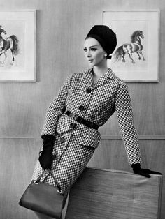 Patterned suit chicness from the early 60s. #vintage #fashion #1960s