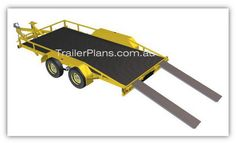 Flatbed trailer PLANS - with ramps. Build your own Flatbed Trailer  www.trailerplans.com.au