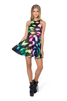 Jellyfish Rainbow Reversible Skater Dress (48HR) by Black Milk Clothing $85AUD