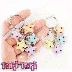 Pastel Rainbow Stars Keychain Polymer Clay Stars Fairy Kei
