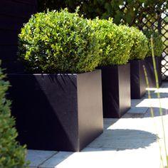 Capi Lux Lightweight Black Square Planter