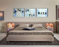 Dance In The Rain Spring Trend Ombre Painting Canvas Quote - Inspirational Quote Wall Art, Customizable Engagement Gift