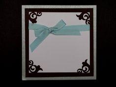 Corner Punch, Silver, Blue, Brown, Greeting Card, handmade